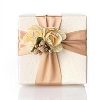 Wholesale Square Wedding Card - 50Pcs size 6.5*6.5*3.8cm champagne Color favor boxes wedding supplies candy boxes favor holders 2016 Wedding Style