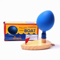 Wholesale Game Boat - Wholesale- Wooden Balloon Powered Boat Bathroom Classic Children's Toys Traditional Swimming Bath Toy Funny Game Christmas Birthday Gift