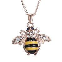 collares de oro únicos para mujer. al por mayor-Envío gratis Golden Bee Rose colgante, collar de oro Unique Austria Elements collares de cristal para mujer joyería venta al por mayor
