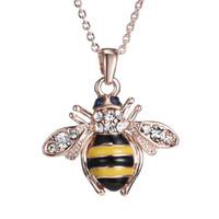 colares de ouro exclusivos para mulheres venda por atacado-Frete Grátis Golden Bee Rose Gold Pingente de Colar Único Áustria Elementos de Cristal Colares Para As Mulheres de Jóias Por Atacado