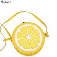 limon damlası toptan satış-Toptan-Naivety PU Deri Moda Kadın Çanta Kişilik Yuvarlak Limon Şekilli Omuz Çantası Fermuar Çanta 10S70105 drop shipping