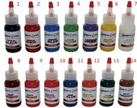 Wholesale White Tattoo Inks - Wholesale - Tattoo Ink Kit Of 14 Colors Tattoo Ink 0.5OZ 15ml Pigment White(60ml) Free Shipping
