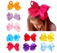 Wholesale Stocking Bows - High Quality 24 Colors in stock 15cm Ribbon Hair Bow With Clip Girls Big Solid Bow Hair Clips Accessories