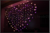 Wholesale Decorated Butterflies - 128 LED 2M*1.5M Marriage Room Decorated Heart-shaped Romantic Courtship Butterfly String Lights Flashing LED Christmas New Years Lighting