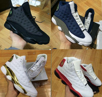 Wholesale Big Cats - 2017 Retro 13 OG Black Cat Basketball Shoes 3M Reflect For Men Sports Training Sneakers High Quality Blackcat Big kids shoes 36-47