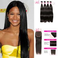 saç paketleri 6a notu toptan satış-Perulu bakire saç kapatma ile 6a sınıf bakire insan saçı demetleri 4 demetleri 10-28 inç işlenmemiş düz insan saçı doğal siyah