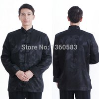 Wholesale Chinese Sale Suits - Wholesale-Special offer free shipping Traditional Chinese tang suit shirt black men's silk satin long sleeve Chinese wind Hot sale clothes