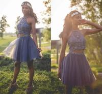 two piece short dress venda por atacado-Cinza Escuro Duas Peças Curtas Homecoming Vestidos de 2018 Nova Tulle De Cristal Frisado Curto Mini Vestido de Formatura Desgaste Do Partido Cocktail