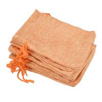 pequenos sacos de presente de cordão venda por atacado-9x12 cm Personalizado Faux Juta Com Cordão Sacos de Jóias Pequenos Bolsos Serapilheira Tecido de Linho Em Branco Laranja sacos de embalagem de Presente saco de Hessian para venda