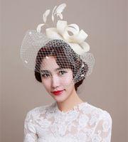 Wholesale Elegant Birdcage Hats Veil - 2016 Bridal Hat Fascinator Handmade Linen Beige Birdcage Veil Wedding Headdress Lady's Elegant Banquet Tulle Hair Accessories