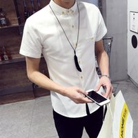 Wholesale Shirts Shorts Sleeves - Wholesale-2016 New Arrival popular summer wear white shirts with short sleeves Men's cultivate one's morality leisure shirt