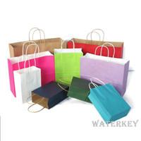 çanta hediye paketi kağıdı toptan satış-Kraft kağıt küçük perakende çanta Alışveriş torbaları Ambalaj çanta Ile halat kolları Kağıt hediye emtia Için Yüksek kalite Üç boyutları Birçok renkler