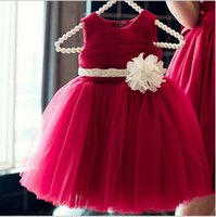 Wholesale Red Vest For Kids - Beaded Handmade Flower Girl Dress Tulle Ball Gown Red Dress For Wedding Kids Formal Wear Knee Length Pageant Birthday Prom Baby Gown