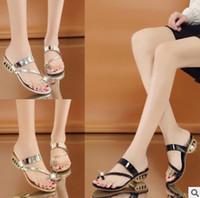 Wholesale Diamond Gold Heels - 2017 Summer New Sandals Gold And Precious Temperament Decoration Simple Diamond Women's Slippers High Heels Flip Flop