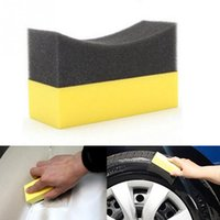 Vente en gros - Auto U-Shape Tire Wax Polishing Compound Sponge ARC Edge Eponge Tire Pinceau voiture Nettoyage Éponge