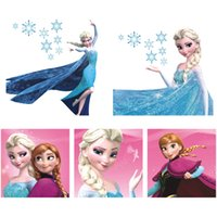 Wholesale Removable Wall Stickers Princess - Hot Princess Wall Sticker Frozen Switch Notebook Wall Stickers Cartoon Wall Covering Wallpaper Rolls Decoration Kids Girls Bedroom Decor