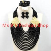 gargantilla de collar de oro africano al por mayor-18 k chapado en oro Classy negro traje africano collar conjunto gargantilla Crystal Bridal Indian Beads joyería conjunto 2019 Shpping libre nigeriano boda