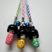 мобильные телефоны со скидкой оптовых-Wholesale-5 Pcs/Lot Cute Wooden Mobile Phone Charm Rope Pendant Rope Cell Phone Styling Decal Charms Free Shipping
