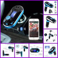 Wholesale Stereo Amplifier 24v - Bluetooth Car Kit FM Transmitter BT66 Handsfree Phone Call Dual USB Car Charger 3.5mm Aux MP3 Player Wireless Remote Control LCD Display