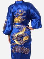 mavi kimono toptan satış-Toptan-Ücretsiz Kargo Mavi Çin Erkekler Saten Ipek Nakış Robe Kimono Banyo elbise Ejderha Gecelikler Boyut S M L XL XXL XXXL S0009 #