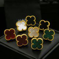 Wholesale Earrings Stud Finding - Export find jewelry wholesale Fan Bingbing with natural shell agate clover single flower earrings 18K gold earring for women