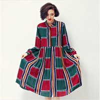 Wholesale Color Block Shirt Dress - Loose Color Block Plaid Full Sleeve Swing Dresses Women 2016 Spring Fall Vintage Pleated Mid-calf Shift casual dress