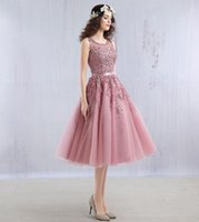 Wholesale Images Fairy Lights - 2016 New Fairy Light Pink Cocktail Dress Sweet Sheer Neck Mid calf Short party homecoming ball gown