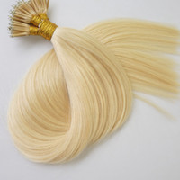 Wholesale Wholesale Nano Ring Hair Extensions - High Quality 18inch double drawn #613 Straight indian Remy Micro Nano Ring Hair Extensions 1g stand 200g lot Human Keratin Hair Extension