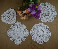 Wholesale Doily Hearts - Wholesale- handmade crocheted doilies Vintage White flower heart Tablecloth Wallpapers coaster 16-20cm, Per design 5Piece ,20pcs LOT