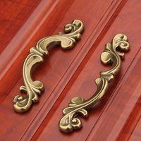 Wholesale Brass Furniture Knobs - European Style Door Handle Retro Shoe Wardrobe Cabinet Handles Hardware Furniture Solid Drawer Knobs