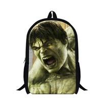 Wholesale Avengers Backpack Kids - Fashion 3D Superman Hulk Backpack Children School Bags For Teenagers Kids Hero The Avengers Boys Casual Travel Shoulder Bag