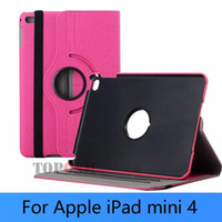 Wholesale ipad leather stylus - For iPad mini 4th 360 rotate PU leather case cover for ipad mini 4 +screen protector+stylus Free Shipping by attop