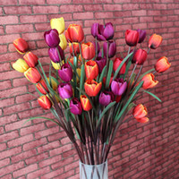 Wholesale Tulip Fabric Flowers - Warm And Sweet Single Flower Fabric Tulip Artificial Silk Flowers For Decor Wedding Home Decoration 93-1012