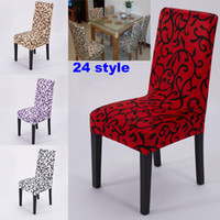 Wholesale Room Chair Covers - NEW Elastic Force Chair Cover Slipcovers Dining Room Wedding Party Banquet Short Chair Covers Home Textiles Chair Covers 24 Design WX-C68