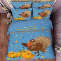 Wholesale Cotton Coverlets King Size - Happy Thankgiving Day Bedding Set Duvet Cover Single Twin Full Queen king Size Pumpkin Bed Cover Turkey Maple Leaves Bedspread Blue Coverlet