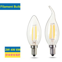 Edison Filament Lâmpadas Dimmable Led vela lâmpada 2W 4W 6W E14 E12 lâmpadas LED alta brilhante 120LM / W Warm White 2700K Led Lamp AC 110-240V