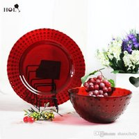 Wholesale Dinner Plates For Sale - Glass plates for centerpieces Hot sale red decoration dinner plate