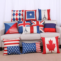 almohadas bandera británica al por mayor-National Flags Pillow Case Pattern Cojines American British Canada French Flags Pillowcase Home Office Square Decors Beautiful Covers