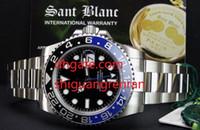 Wholesale Men Black Ceramic Bracelets - 2 Styles Top Quality Luxury Mens Watch GMT II Ceramic 116710 Black Blue Stainless Steel Bracelet Automatic Mechanical Men Watch Wristwatches