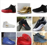 Wholesale Army Games Online - hot air retro 12 mens basketball shoes wool mens sneaker Black Nylon Blue Suede discount shoes flu game french blue sports shoes online