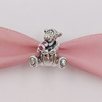 Wholesale tiger bracelets silver - Authentic 925 Sterling Silver Beads Tiger Charm Fits European Pandora Style Jewelry Bracelets & Necklace 792135EN80