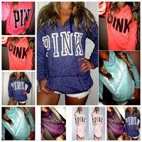 Wholesale Girls Pink Hooded Jacket - Pink Hoodie Love Pink Jacket Women Pink Letter Sweatshirts Shirt Coat Print Cheetah Tops Pullover Hoodies Long Sleeve Outerwear OOA2951