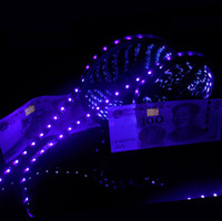 wasserdichte lila led-lichtstreifen großhandel-UV Lila Led Streifen Licht 5050 SMD 60led / m DC 12V Wasserdicht 395-405nm Ultraviolett Ray flexibles Streifenband Band