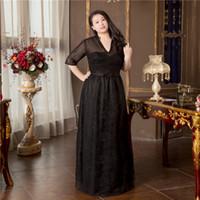 siyah açık arka balo elbiseleri toptan satış-Seksi Siyah Artı Boyutu Abiye Aç Geri Kat Uzunluk Dantel Balo önlük V Yaka Boncuk Örgün Törenlerinde ile Ucuz