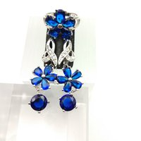 Deep Blue Gems Flower Style Topaz Jewelry Sets para mujeres Sterling Silver 925 Drop Earrings / Ring Sizes 7/8/9 Free Jewelry Box B