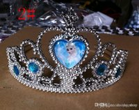 Wholesale Princess Tiara Party - Frozen anna elsa tiara dress Elsa Anna princess crowns hearts tiara baby party hair accessories pageant hair bands Halloween gift Holiday