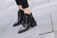 Wholesale Hot Korean Boots - Ankle boots square toes square heel 5.5 cm New season Korean version of Hot Sale comfortable personalized print women shoes