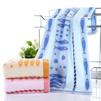 Wholesale Towels Cotton 34 - Free Shipping Factory Direct Natural Cotton Gauze Material Shares 34 * 74 Pink Blue Cotton Towel Natural Cotton 100% HY1229