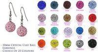 Wholesale Crystal Clay Stud Earrings - Lowest Price!10mmfttfh Clay Mixed 20 Color MOW Crystal Micro Pave Disco Ball Silver Plated Shamballa Earrings drop Stud jewelry DIY