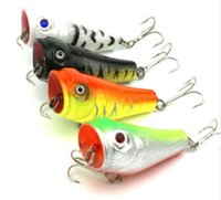 Wholesale Fake Bait Sale - 5cm 7.4g Artificial Fishing Lures Top Water Floating Lure Popper with Hooks 3D Fish Eye Poper Fake Lure Bait Hot Sale PO007